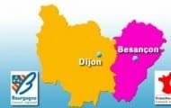 En Bourgogne-Franche-Comté, le chef-lieu à Dijon, le siège de la région à Besançon