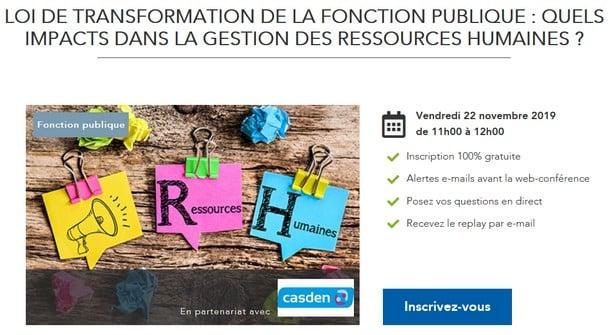 Web-conférence : Loi de transformation de la Fonction publique : quels impacts dans la gestion des ressources humaines ?
