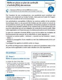 Coronavirus : mettre en place un plan de continuité d'activité des services
