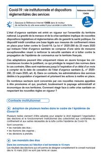 Covid-19 : vie institutionnelle et dispositions réglementaires des services à la population