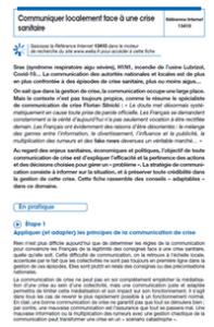 Covid-19 : communiquer localement face à une crise sanitaire