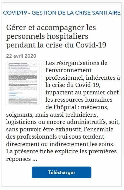 Gérer et accompagner les personnels hospitaliers pendant la crise du Covid-19