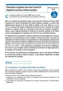 Prévention et gestion de crise Covid-19 dans les Ehpad et les services médico-sociaux