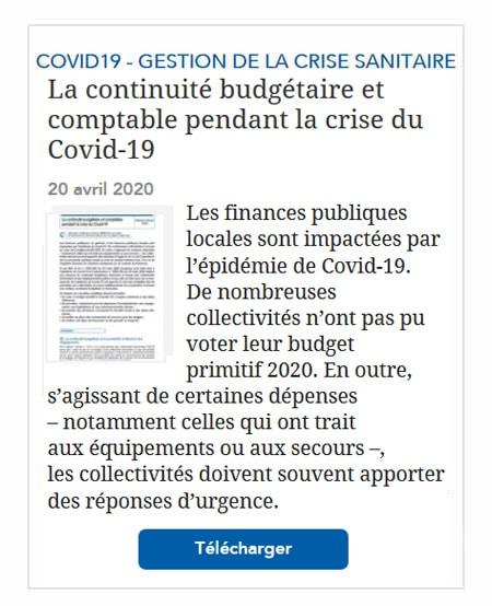 La continuité budgétaire et comptable pendant la crise du Covid-19