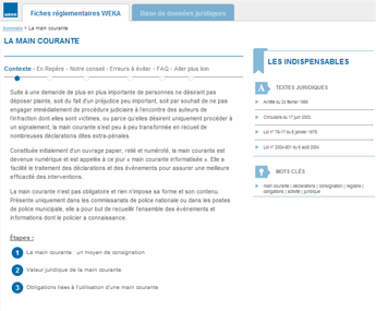 Les fiches Weka, support documentaire de Mobi-Police